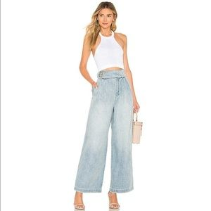 Free People- High Rise Side Buckle Wide Leg Jeans